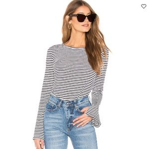 Frame Shirred Bell Sleeve Top